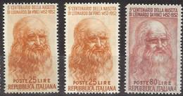 ITALIA 1952 - Nascita Di Leonardo 2 Valori Nuovi**  (648) - 1946-60: Nuevos