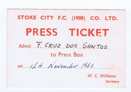 C19  B16) FOOTBALL Ticket Stub Press Card STOKE CITY F.C. - ASTON VILLA (?) 12/13(?).11.1965 - Sin Clasificación
