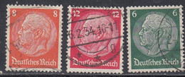Germany, Scott #404, 406, 419,  Used, Hindenburg, Issued 1933-34 - Used Stamps