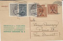 1923- C P E P  50 Kr. X 2  + Compl. 800 Kr.  Pour La France - Covers & Documents