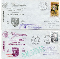 La Réunion Maurice Nairobi Paris - 2 X 1er Vol Boeing 747 Air France - Erstflug First Flight - Kenya Mauritius - Storia Postale