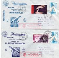 La Réunion Maurice Nairobi Paris 1975 - 2 X 1er Vol Boeing 747 Air France - Erstflug First Flight - Kenya Mauritius - Storia Postale