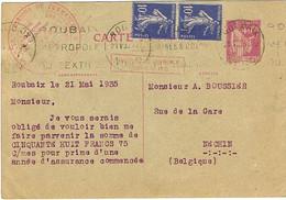 ENTIER SUR-AFFRANCHI AU TARIF FRONTALIER ROUBAIX NECHIN BELGIQUE - 1921-1960: Moderne