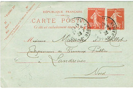 ENTIER SEMEUSE SUR-AFFRANCHI REPIQUAGE TREFILERIE DE LA COMMISSION DES ARDOISERIES D'ANGERS - Overprinter Postcards (before 1995)