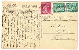 AFFRANCHISSEMENT COMPOSE SEMEUSE MERCURE SUR CPA - 1921-1960: Moderne
