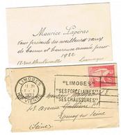 AFFRANCHISSEMENT 1ER JANVIER FLIER LIMOGES T 1 1933 SUR BLOC DATEUR ( 1932 Sur La Carte... ) - 1921-1960: Moderne