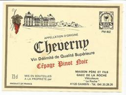 N2 / Wine Old Liqueur Alcohol  LABEL Etichetta Etiqueta / Etiquette Alcool / VIN CHEVERNY - Sin Clasificación