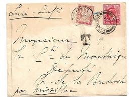 FS987 / Paketboot Ex Ceylon Mit Englischer Marke Freigemacht. Nachporto In Frnkreich (1904) - Lettres & Documents