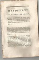 REVOLUTION FRANCAISE ET RELIGION :  MANDEMENT DE M. L EVEQUE DE LESCAR , MARC - ANTOINE DE NOE ...... - Religión