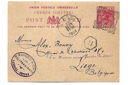 Zyp038 / ZYPERN - Postkarte P 5 Von Larnecar Nach Liege / Belgien - Chipre (...-1960)