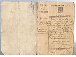 JM17.01 / VIEUX PAPIERS / COMMUNE D UCCLE 05.01. 1880 - LIVRET DE MARIAGE / J.B.MEYVIS Et R.VANDERPOORTEN - Historical Documents