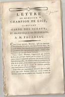 REVOLUTION FRANCAISE ET RELIGION :  LETTRE DE MONSIEUR CHAMPION DE CICE CI - DEVANT GARDE DES SCEAUX .... - 1701-1800