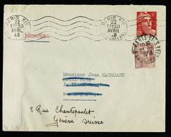 !! Gandon Au Tarif 6F 22-4-1948 Pour Paris + REAFFRANCH. Gandon 4F 23-4-48 Pour Tarif 10F Vers Suisse + Bande Fermeture - 1921-1960: Moderne
