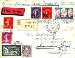 REC.par Liaison Aérienne ISTRES-PONDICHERY Pour KARACHI - 1930 - - 1927-1959 Briefe & Dokumente