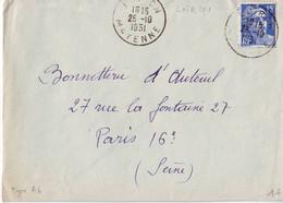 Loiron - Mayenne - 53 - Oblitération Type A6 - 1921-1960: Moderne
