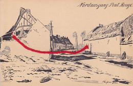 WARNETON PONT ROUGE Nordausgang Carte Dessinée  Allemande  Feldpost - Comines-Warneton - Komen-Waasten