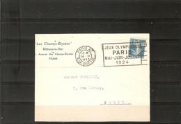 PARIS 47  .  FLAMME JEUX OLYMPIQUES 1924  .  SUR DEVANT DE LETTRE TIMBRE 140 - Annullamenti Meccanici (pubblicitari)