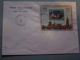 Enveloppe  Avec  BLOC  1è JOUR  D '  EMISSION - 03  /  12 / 1977  --  ELIZABETH  II  BRAZZAVILLE - Collections