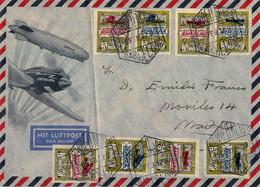 1932 , BARCELONA , BONITA CARTA FILATÉLICA CON LA SERIE ED. NE 9 / NE 16 NO EXPENDIDOS. SOB. AVIONES , CORREO AÉREO - 1931-50 Cartas