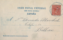 1900 , BARCELONA , T.P. CIRCULADA , PLAZA REAL , ALFONSO XIII PELÓN 10 CTS. , ED. 218 - Cartas