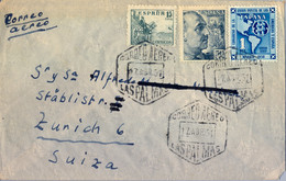 1951 , CANARIAS , LAS PALMAS - ZÜRICH , SOBRE CIRCULADO , CORREO AÉREO . UPAE , ED. 1091 - 1951-60 Cartas