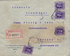 "1923 , MADRID - DRESDEN , SOBRE CERTIFICADO , MAT. "" CERTIFICADO / 9 JUN . 23 / CORREO CENTRAL / SECCIÓN NOCTURNA "" - Cartas"