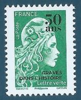"""N°???? Marianne D'Yseult TVP Lettre Verte Surchargée """"50 Ans Gravés Dans L'histoire"""" Neuf** - Ongebruikt"""