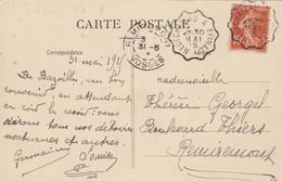 Yvert 138 Semeuse Cachet Belle Frappe Ambulant Convoyeur De Ligne Neufchâteau à Epinal 1915 Sur Carte Bazoilles Vosges - Lettres & Documents
