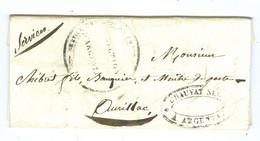 Cachet Service Des Maitres De Poste D' Aurillac à Tulle Direction D'Argentat Relais Diligence Rare 1835 - 1801-1848: Precursors XIX