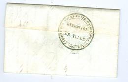 Lettre Cachet Service Des Maitres De Poste D' Aurillac Cantal à Tulle Corrèze Direction De Tulle Verso Lettre De Service - 1801-1848: Precursors XIX