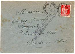 50c Paix Sur Lettre Du 7.1.41 Du Doubs Pour Les Bouches Du Rhône - Griffe 'NON ADMIS / Retour à L'envoyeur' ...... - 1921-1960: Moderne