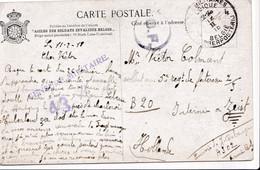 """3 CP """"Asile Des Soldats Invalides Belges"""" PMB 4, 6 CALAIS  Censure 3 Couleurs  Folkestone Vers Interné à ZEIST HOLLANDE - Belgisch Leger"""