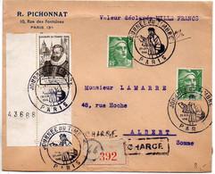 Lettre Recommandée Et Chargée (Valeur Déclarée 1000F) - CaD 'Journée Du Timbre' De Paris Du 29 Juin 1946 - 1921-1960: Moderne
