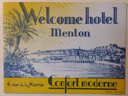 WELCOME HOTEL . MENTON .DEPLIANT EN 2 - Advertising