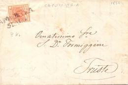1853 Piego Con Testo Lombardo Veneto Da 3Kr Da Capodistria Per Trieste P.ti 11 RIBASSATO - Lombardo-Vénétie