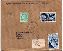 Lettre Recommandée Et Chargée (Valeur Déclarée 5000F) Du 28.2.1949 - 1921-1960: Moderne