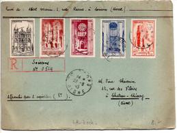 Série Cathédrale De 1944 Sur Lettre Recommandée Provisoire De 3ème échelon De Soissons (Aisne) Du 23.8.45 - 1921-1960: Moderne