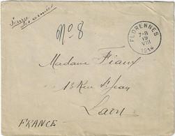 Service Des Armée 1914 2 Scans S.M. 'Lieu De Destination Envahi' Cachet Florennes - Belgisch Leger