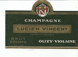 N3 / Wine Old Liqueur Alcohol LABEL Etichetta Etiqueta / Etiquette Alcool / CHAMPAGNE LUCIEN VINCENT Olizy - Champagne