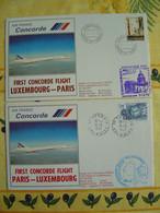 CONCORDE F-BVFA -- 2 Plis Du 1er Vol Aller & Retour PARIS - LUXEMBOURG Le 19-5-1982 Avec Certificats De Vol - Sonstige