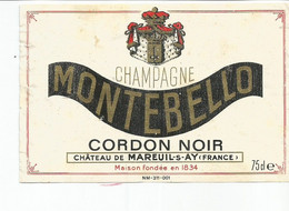 N3 / Wine Old Liqueur Alcohol LABEL Etichetta Etiqueta / Etiquette Alcool / CHAMPAGNE MONTEBELLO - Champagne