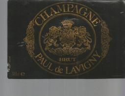 N3 / Wine Old Liqueur Alcohol LABEL Etichetta Etiqueta / Etiquette Alcool / CHAMPAGNE PAUL De LAVIGNY - Champagne