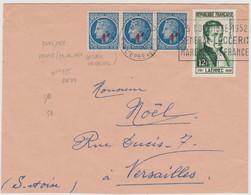 FRANCE 1952 Enveloppe Pour Versailles N°YT 791 X 3 Et 936 Cachet Paris Rue De L'Epée Flamme Gén. Leclerc 29.11 1952 - Mechanical Postmarks (Advertisement)