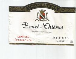 N3 / Wine Old Liqueur Alcohol LABEL Etichetta Etiqueta / Etiquette Alcool / CHAMPAGNE Bonet Thieris ECUEIL - Champagne