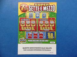 ITALIA BIGLIETTO LOTTERIA GRATTA E VINCI USATO € 3,00 SUPER SETTE MEZZO LOTTO 3005 CON EMBLEMA E RIQUADRO LOTTERY TICKET - Lottery Tickets