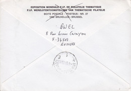 France THEMBELGA PARIS 1975 Cover Lettre BRUXELLES Belgium 2x Conference De Cooperation Mondiale Timbres - Storia Postale