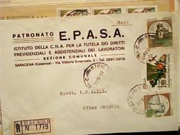 BUSTA RACCOMANDATA SARACENA CS PATRONATO  BOLLI  SALVAGUARDIA BOSCHI 450 LIRE + CASTELLI 1000  500   VB19684  HW3824 - Cosenza