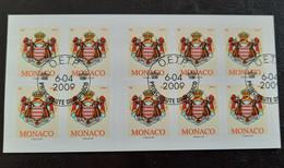 "Monaco Carnet YT 16 "" Armoiries 10 Adhésifs SV France "" 2009 Neuf** Non Plié 1ER JOUR OBLITERE - Postzegelboekjes"