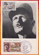 CM-Carte Maximum Card # France-1969-1987 #Joint Issue# Histoire # Guerre,war,Kreg # Général  Leclerc,Paris & Strasbo - 1960-69