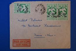 J5 AEF GABON BELLE LETTRE  1943 PAR AVION POUR PARIS FRANCE + PAIRE DE T.P.+ CACHETS INTERESSANT - Covers & Documents